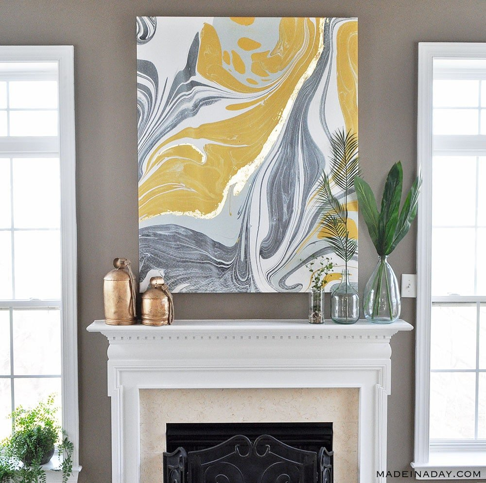 how to guild on canvas, boho wall art, marbling on canvas