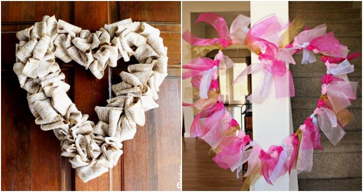 burlap heart wreath, tulle heart wreath