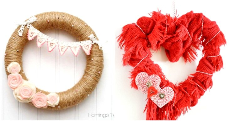 red scarf heart wreath, rosette valentine wreath