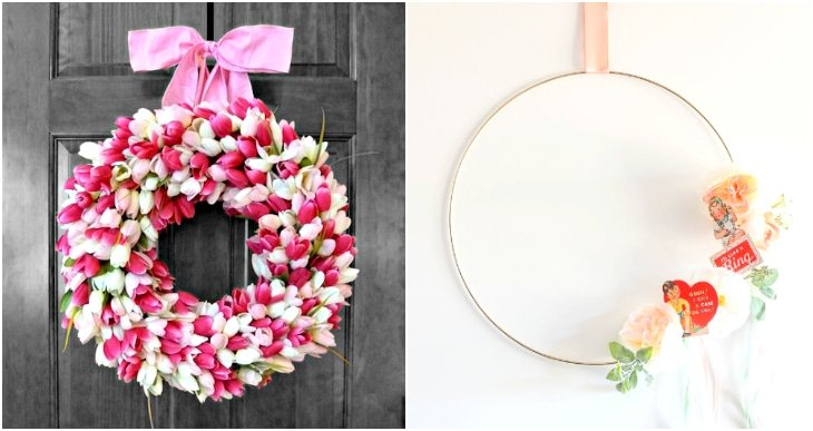 tulip wreath, vintage valentine heart hoop wreath
