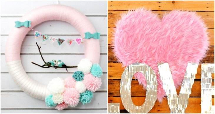 love bird wreath, fur heart wreath