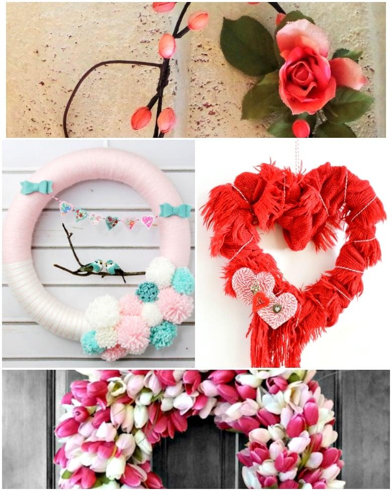 12 Easy to Make Valentine Wreaths + Door Hangers