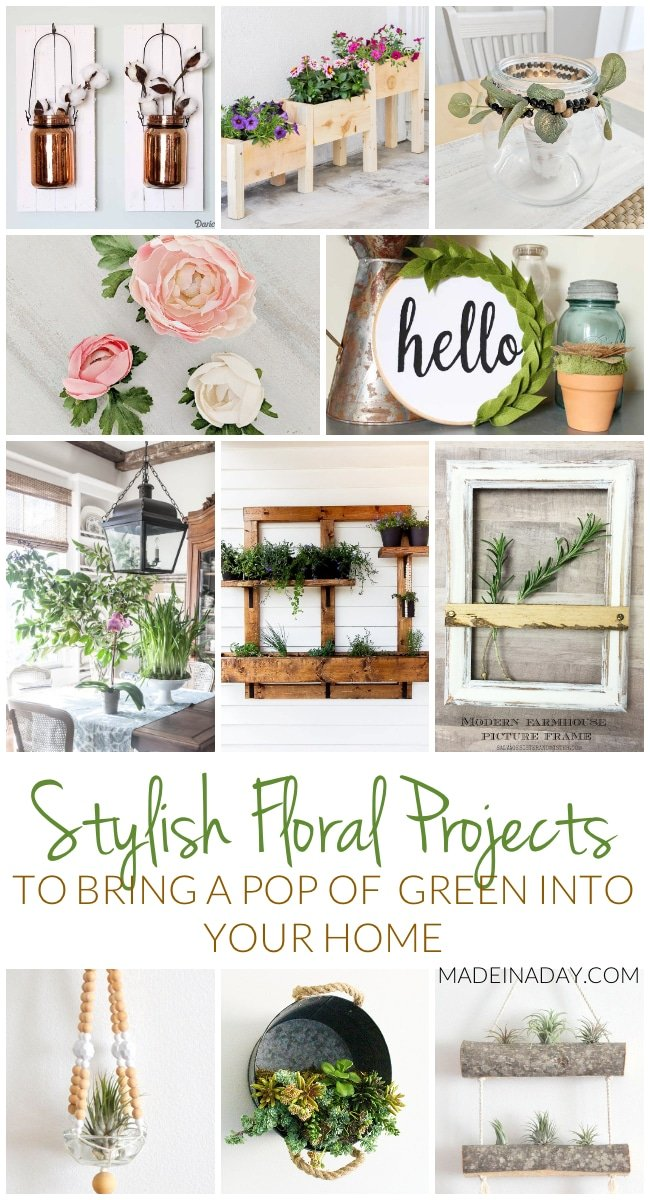 Stylish Floral Projects: Add A Pop of Green to your Home, container garden, beaded macrame, succulents, galvanized bucket, forcing bulbs, flower magnets, farmhouse style #floral #succulent #bulbs #diydecor #spring #plants #gardening #planthanger #green #container