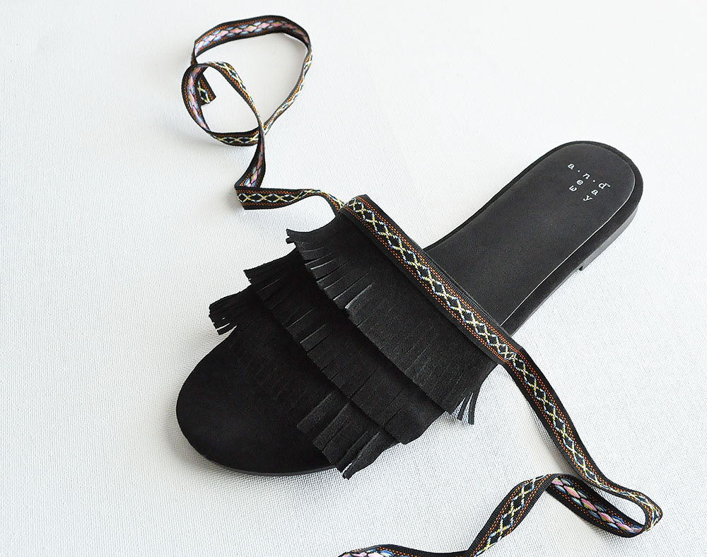 DIY fringe tassel shoes sandals, black fringe sandals, suede fringe sandals