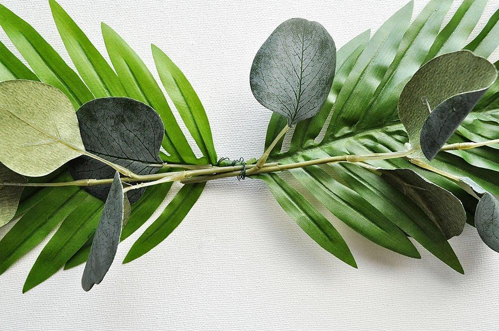 Tropical Palm wreath with eucalyptus
