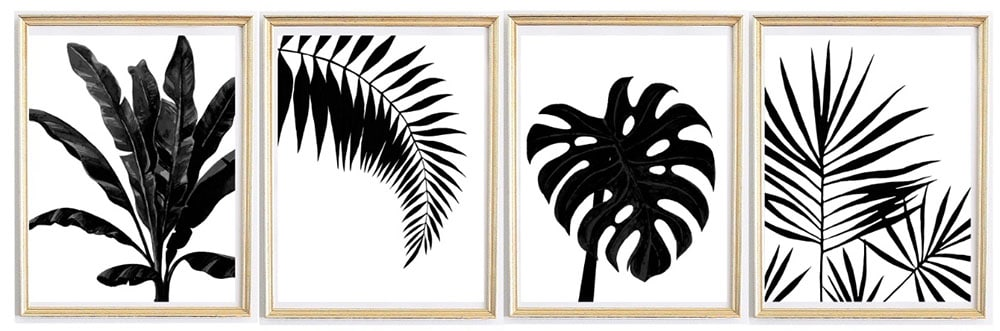Black White Palm Printables Monstera Leaf Banana
