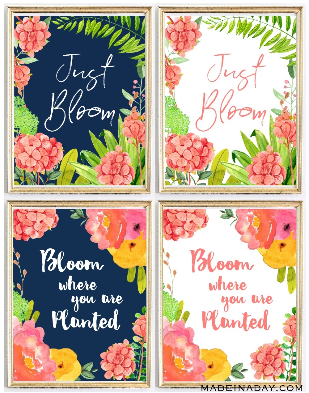Bloom Spring Wall Printables Navy White Coral Pin