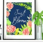 Navy Floral Blooming Spring Wall Art Printables