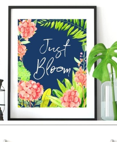 Navy Floral Blooming Spring Wall Art Printables 34