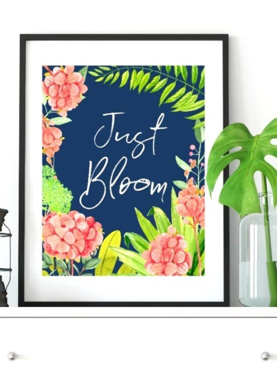Navy Floral Blooming Spring Wall Art Printables 9