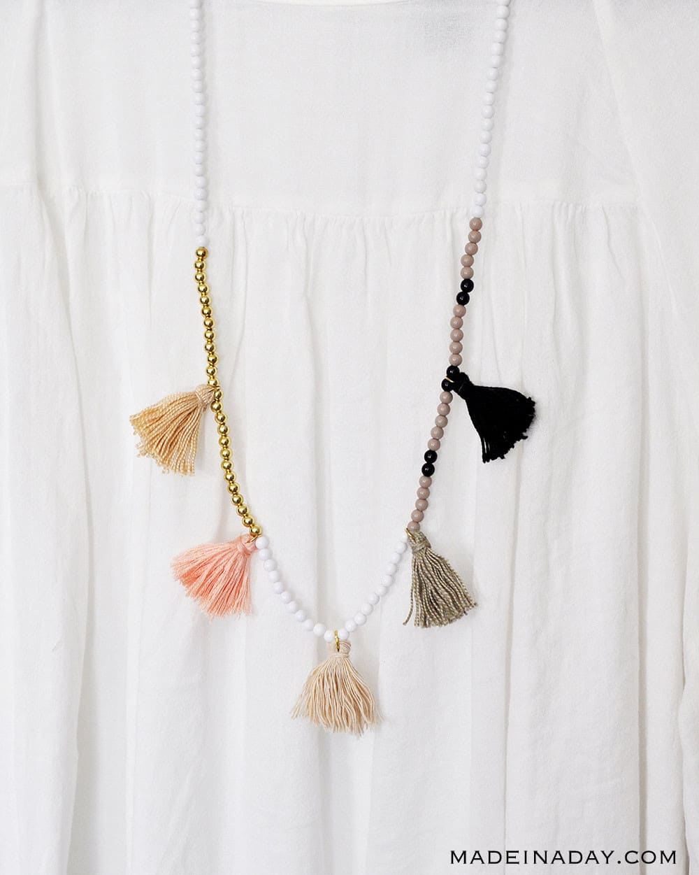 Color block bead tassel necklaces, simple tassel necklaces