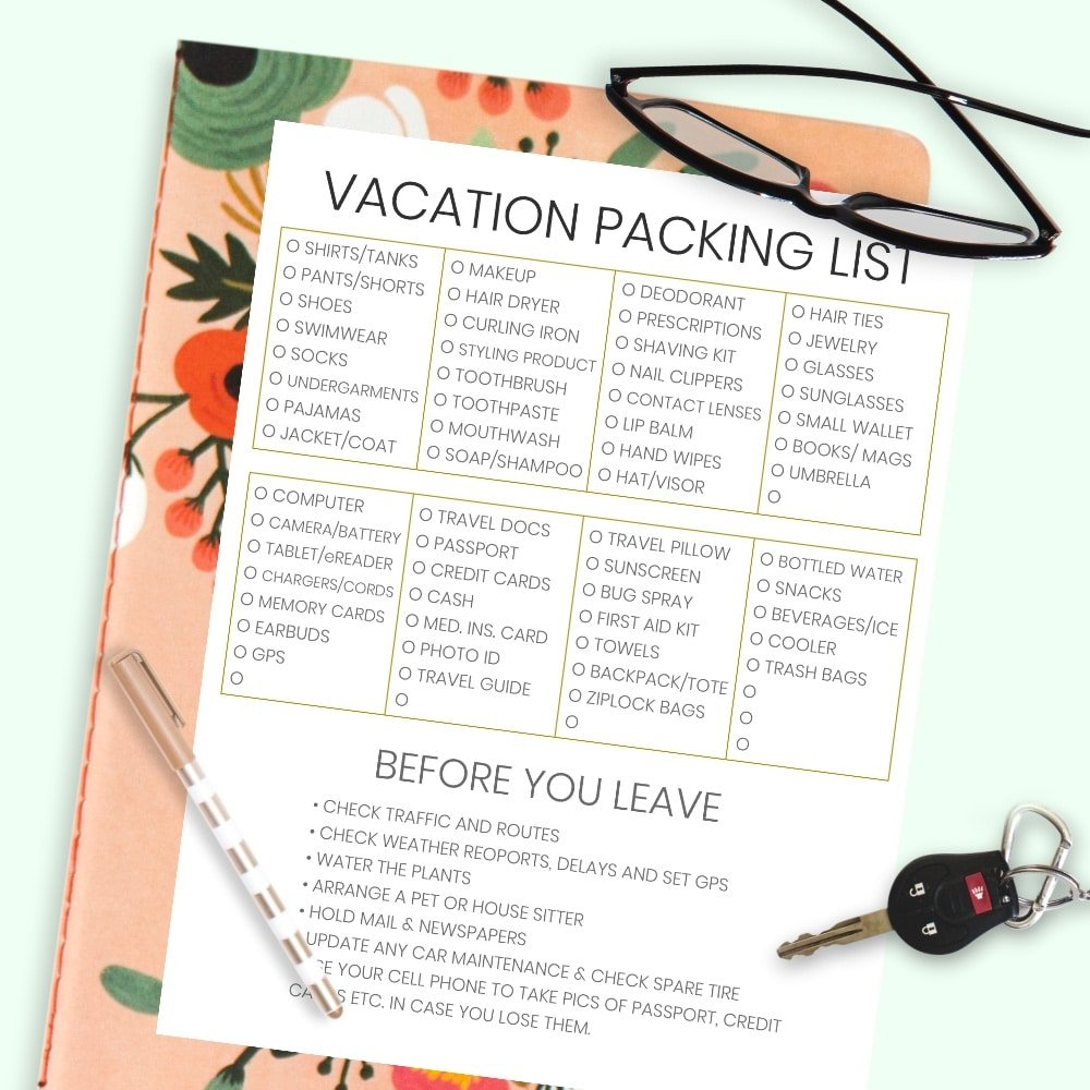 image relating to Free Printable Packing List identified as The Thorough Holiday vacation Push Packing Listing + Guidelines Intended inside of a Working day