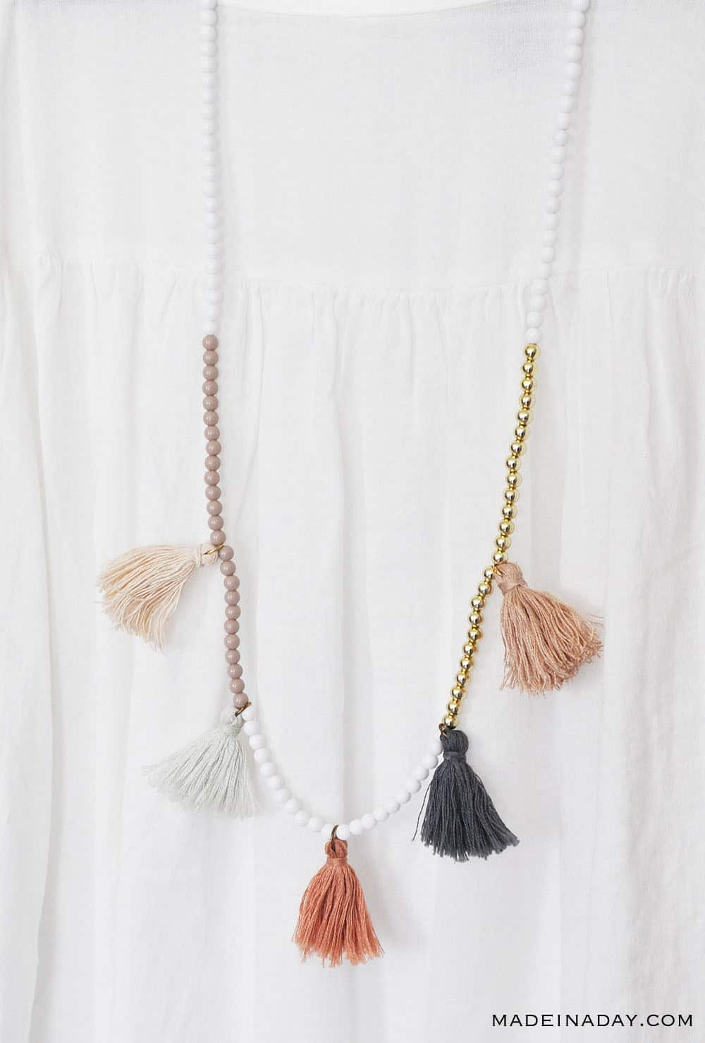 Peach, coral, mint green, and navy tassel necklaces, color block necklace