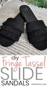 DIY Tassel Suede Fringe Slide Sandals 1
