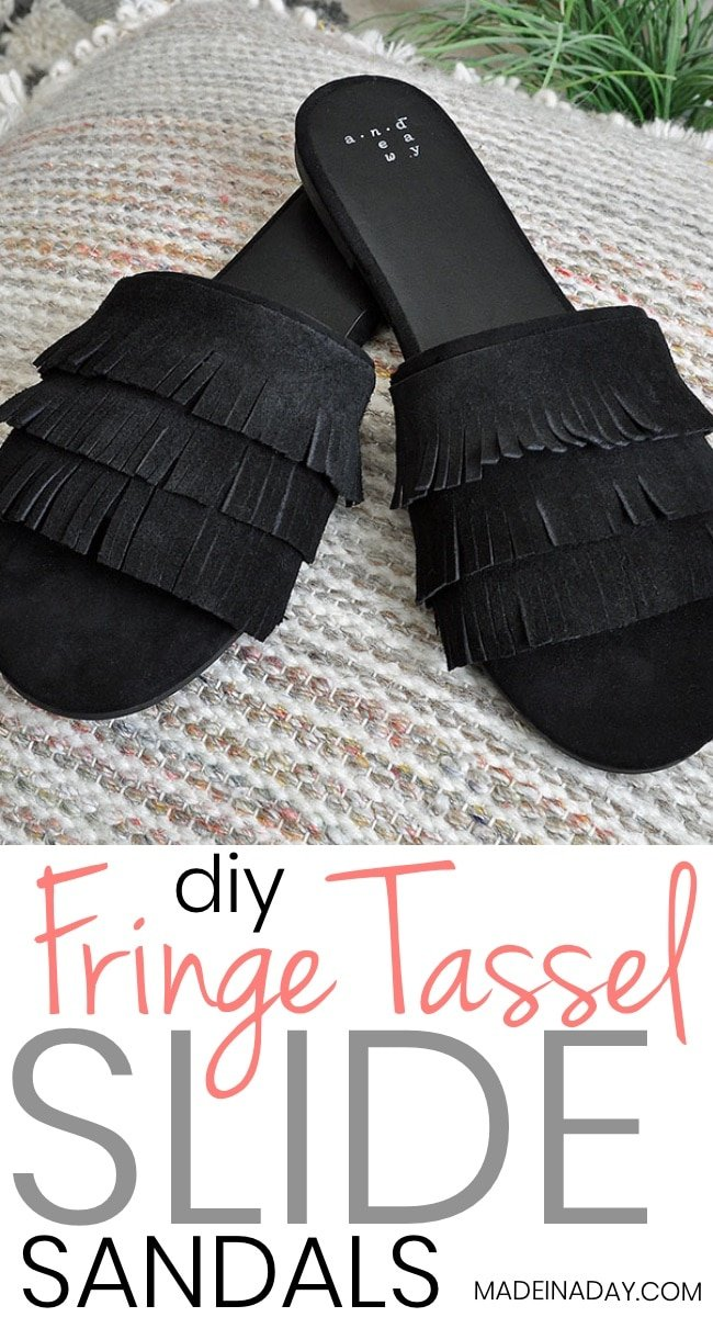 DIY Tassel Suede Fringe Slide Sandals. Add suede fringe to plain black slide sandals for an updated boho trendy look. #fringe #boho #Tassel #sandals #bohemian
