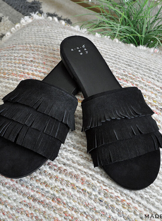 DIY Tassel Suede Fringe Slide Sandals 32
