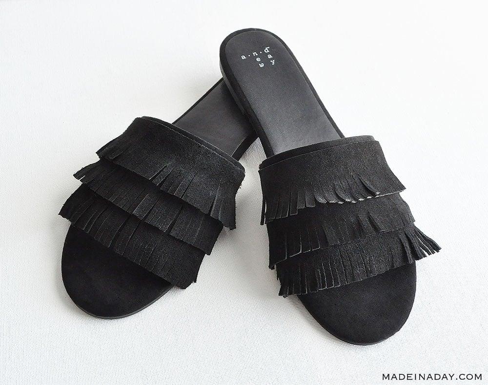 DIY Tassel Fringe Slide Sandals, DIY Fringe shoes, DIY Tassel Shoes, black fringe slides, suede fringe sandalas