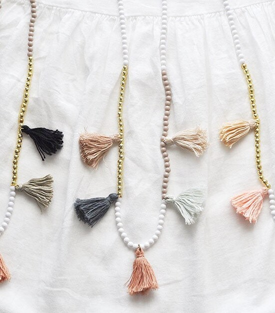 DIY White Gold Color Block Tassel Necklaces 8