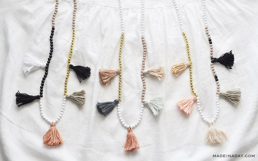 Color Block Tassel Necklace, Blush Mint green tassel, black tassel necklace