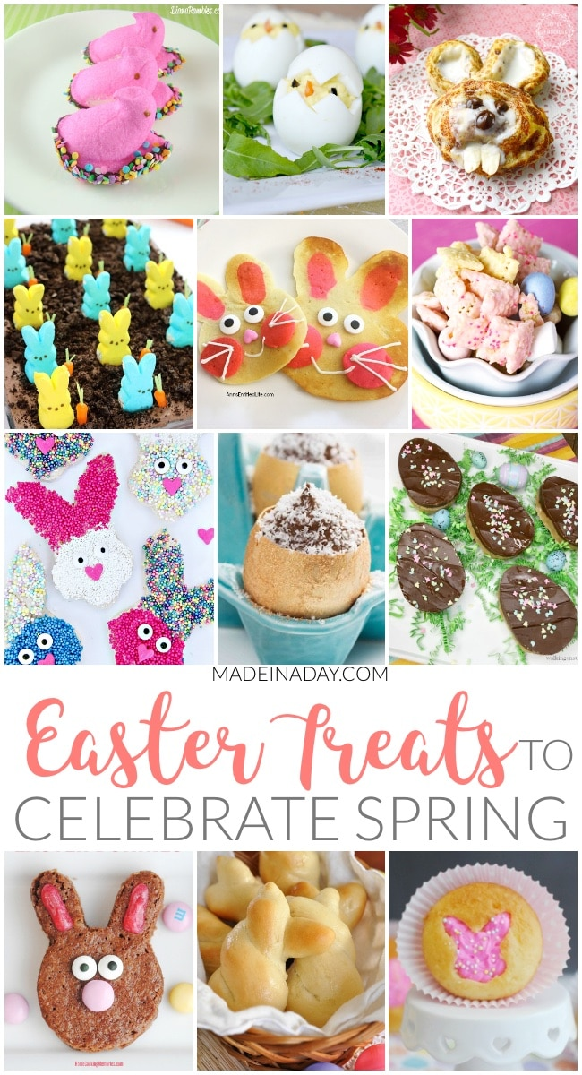 Sweet Easter Treats to Celebrate the Spring Season,There were so many fun Easter treats linked up to the last few parties by some of my favorite bloggers. It so hard to just pick one sweet treat to serve on Easter! There are bunny brownies, bunny rolls, Easter bread, peep desserts, bunny cinnamon rolls and more! #bunny #Easter #Eastertreats #Peeps #chocolateeggs