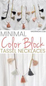 DIY White Gold Color Block Tassel Necklaces 1