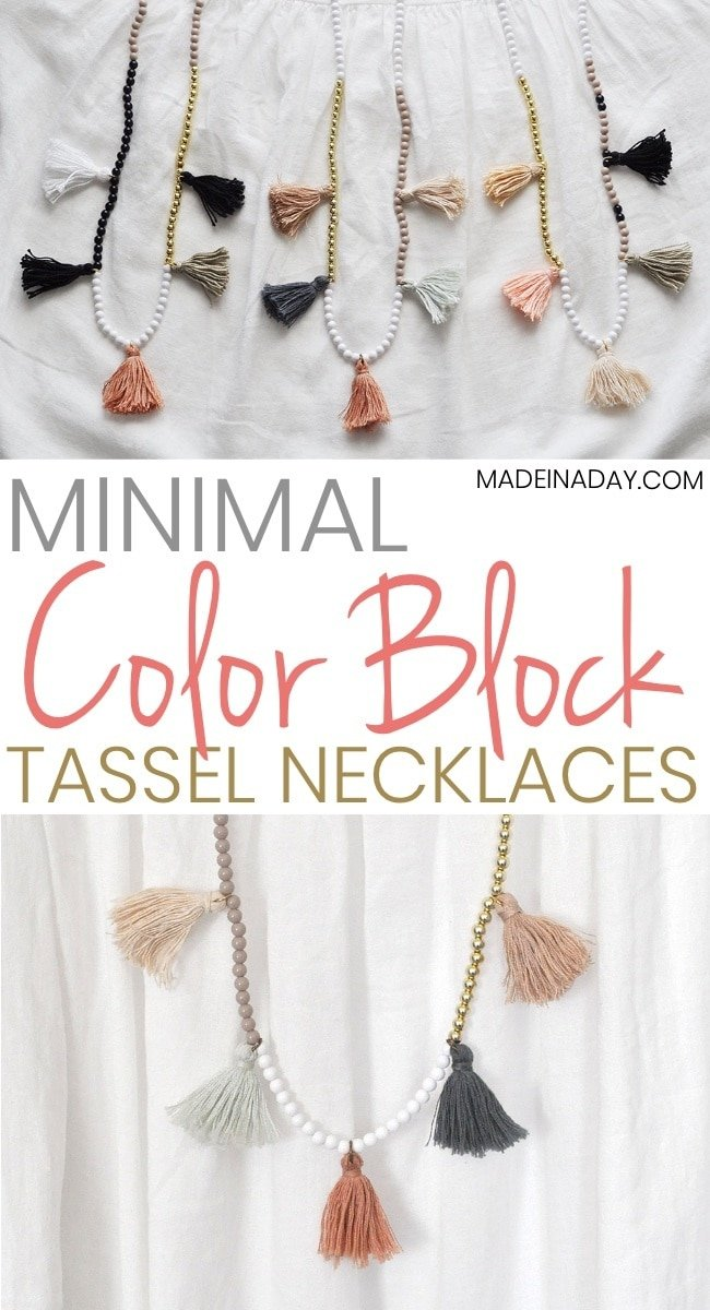 DIY White Gold Color Block Tassel Necklaces, gold bead necklace, white bead necklace, tassel necklace, beaded tassel necklace, minimal tassel necklace, blush necklace, mint green, gold and white necklace, #necklace #boho #colorblock #accesories #jewelry #DIY