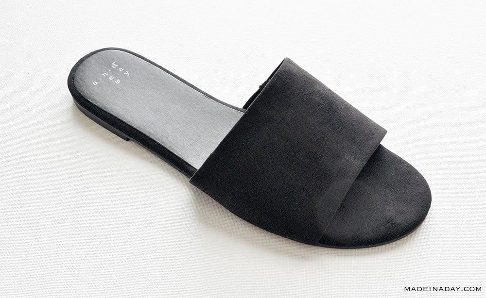 Faux Suede Slide Sandals, Flat Suede Slide Sandals