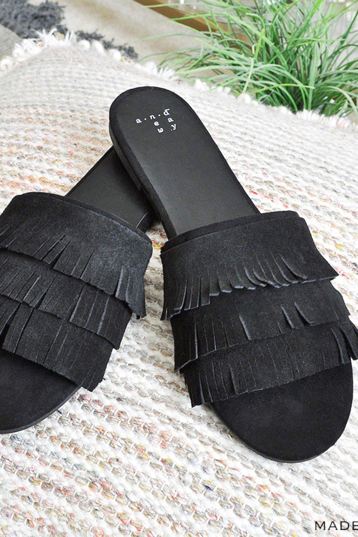 DIY Tassel Suede Fringe Slide Sandals