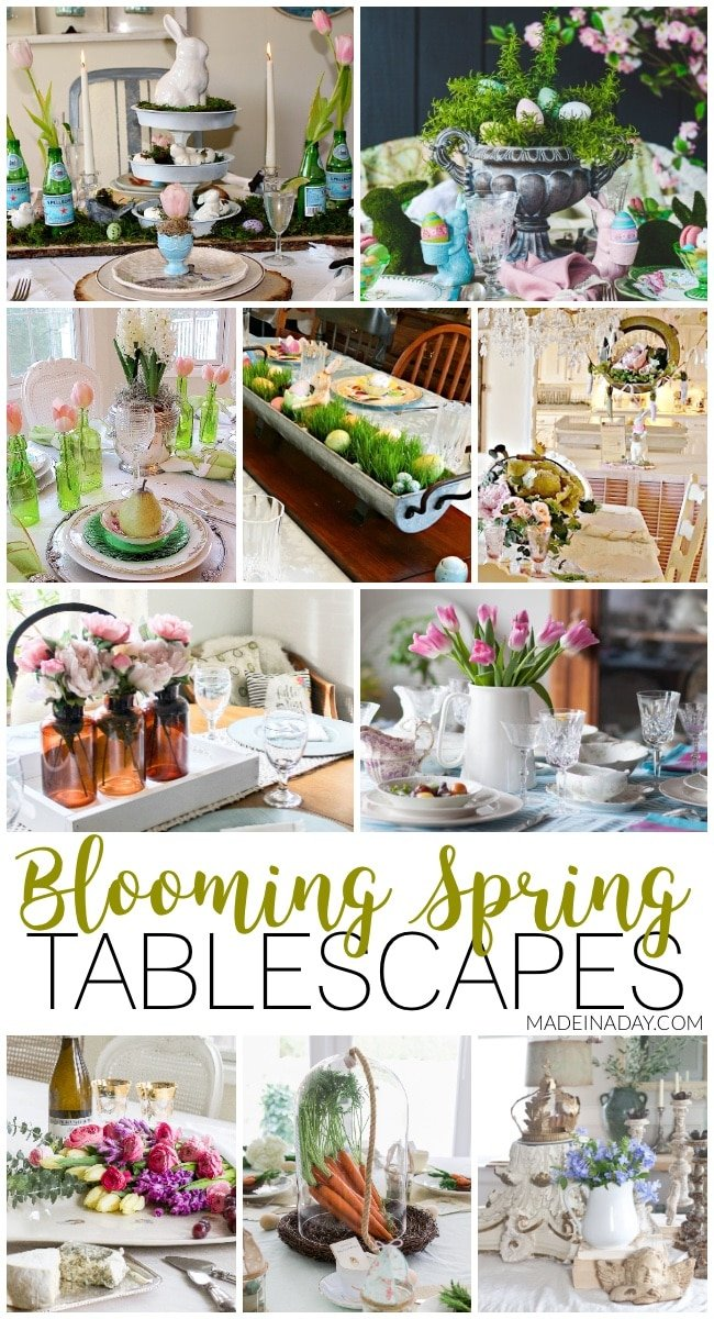 Fresh Spring Tablescapes for Special Holiday Gatherings. #tablescape #easter #spring #StPatricksDay table settings, floral ideas for easter, wine and cheese party, egg decorations, carrot decor