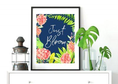 Navy Floral Blooming Spring Wall Art Printables 24