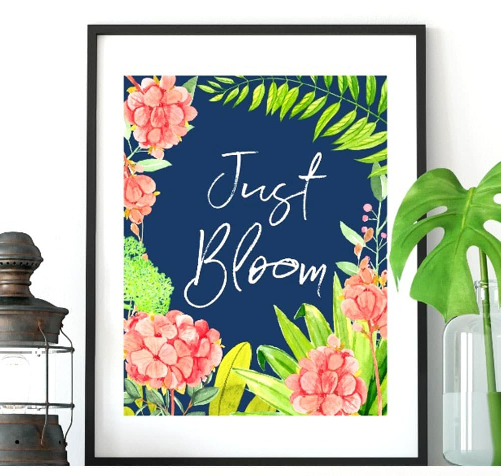 Just Bloom Spring Printable, tropical spring printable