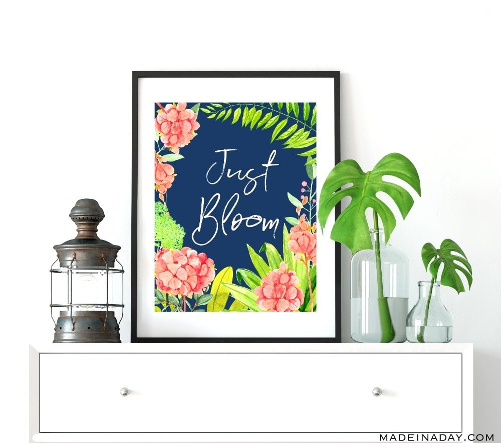 Navy Floral Blooming Spring Wall Art Printables. Bloom Where you are Planted + Just Bloom, navy melon pink yellow floral pattern, printable floral spring quotes, spring saying printables, hydrangea floral printable, navy floral printable, spring wall art printables, #spring #wallart #printables #navy