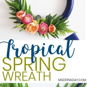 How to make a Stunning Navy and Pink Tropical Spring Wreath 1