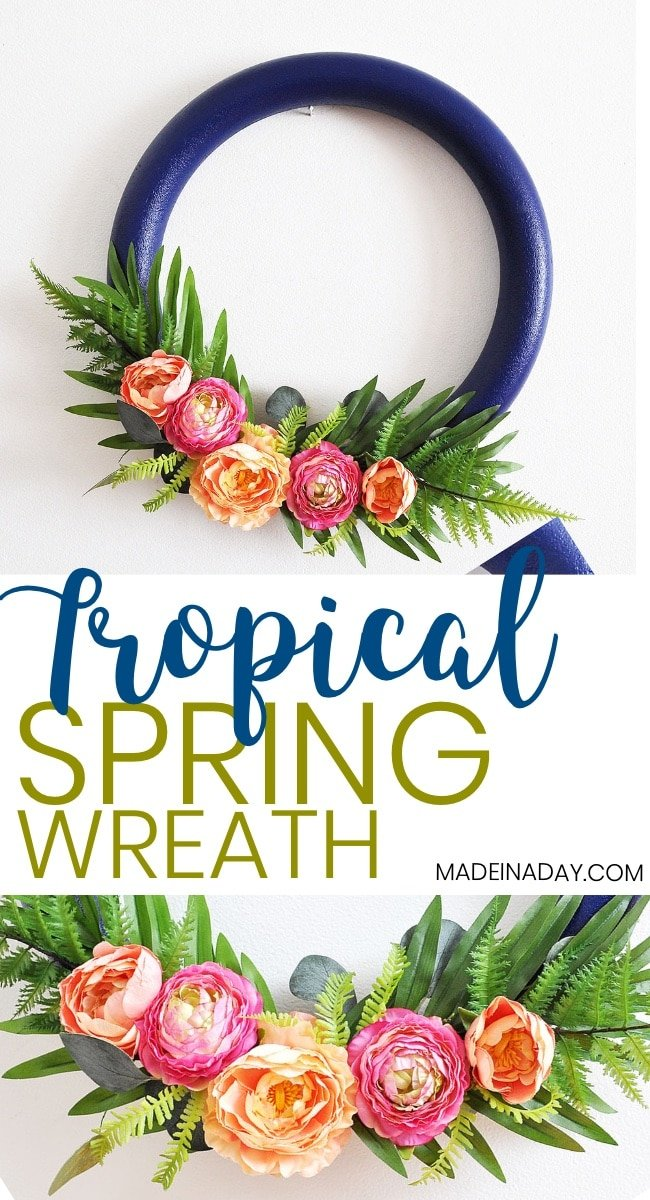 How to make a Stunning Navy and Pink Tropical Spring Wreath, eucalyptus wreath, door wreath, tropical wreath, spring wreath, summer wreath, peony wreath, Tropical Palm wreath, fern wreath, navy blue wreath, hoop wreath, #tropical #navy #peony #wreath #spring #springwreath