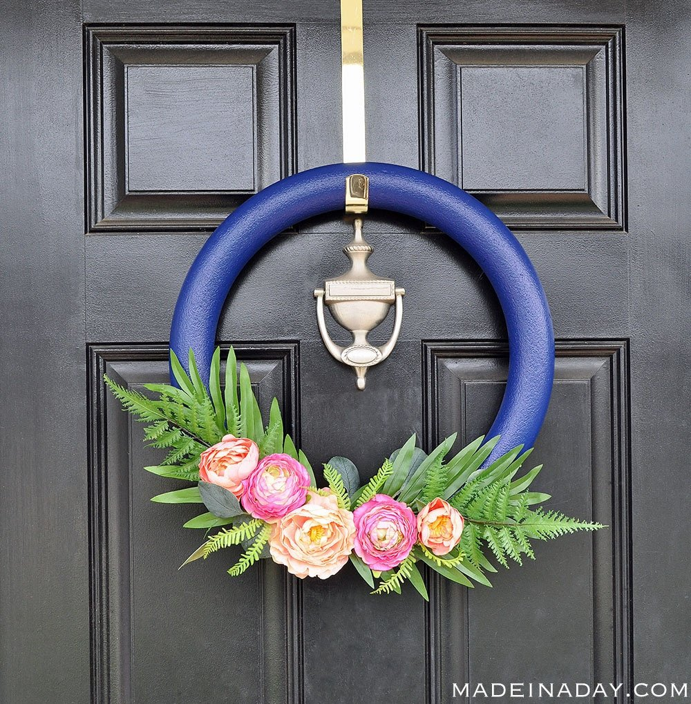 How to make a Stunning Navy and Pink Tropical Spring Wreath, eucalyptus wreath, door wreath, tropical wreath, spring wreath, summer wreath, peony wreath, Tropical Palm wreath, fern wreath, navy blue wreath,, #tropical #navy #peony #wreath #spring