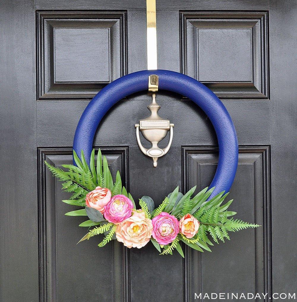 How to make a Stunning Navy and Pink Tropical flower Wreath, eucalyptus wreath, door wreath, tropical wreath, spring wreath, summer wreath, peony wreath, Tropical Palm wreath, fern wreath, navy blue wreath,