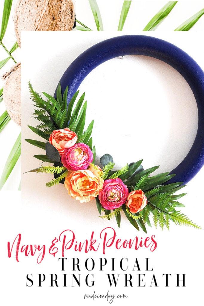 Navy Blush Pink Peony Tropical Flower Wreath