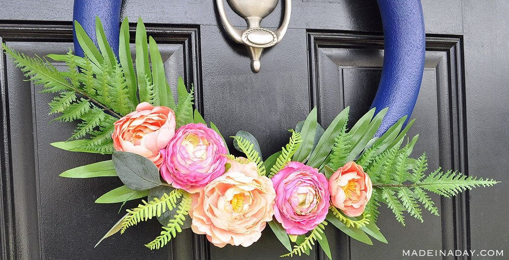 Pink Blush Flower Wreath, Navy blue pink peony wreath