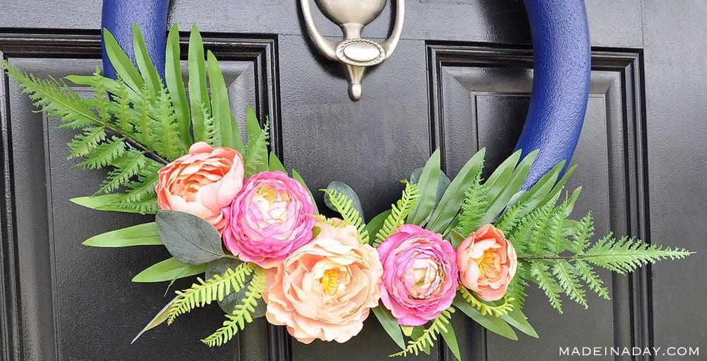 Pink Blush Flower Wreath, Navy blue pink peony wreath