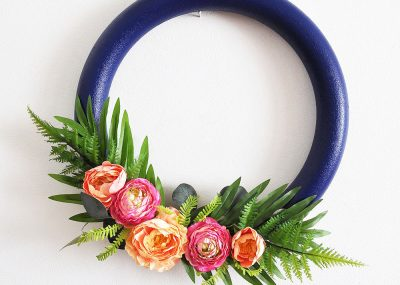 How to make a Stunning Navy and Pink Tropical Spring Wreath 22