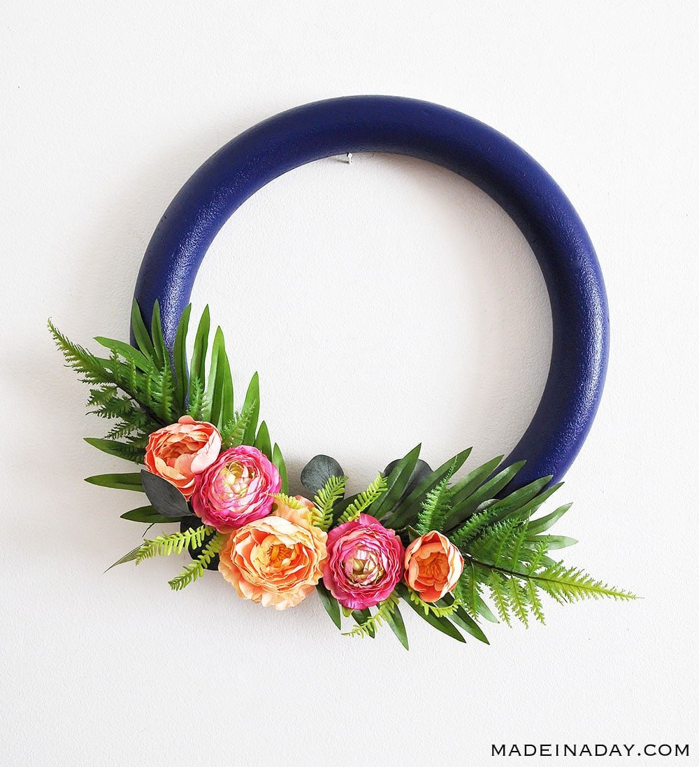 How to make a Stunning Navy and Pink Tropical Spring Wreath, eucalyptus wreath, door wreath, tropical wreath, spring wreath, hoop wreath, #tropical #peony #wreath #springwreath