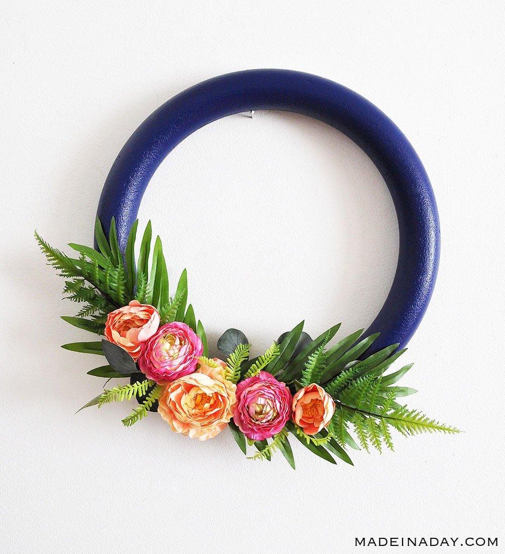How to make a Stunning Navy and Pink Tropical Spring Wreath, eucalyptus wreath, door wreath, tropical wreath, spring wreath, hoop wreath, #tropical #peony #wreath #springwreath
