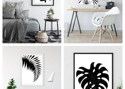 Black & White Tropical Palm Leaf Wall Art Printables 16
