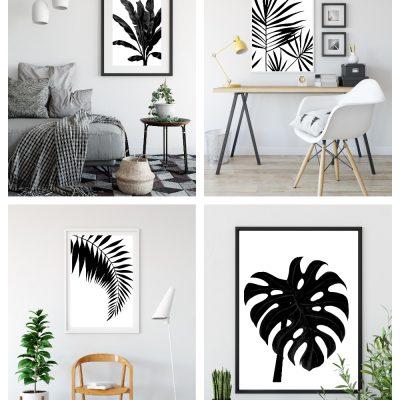 Black & White Tropical Palm Leaf Wall Art Printables