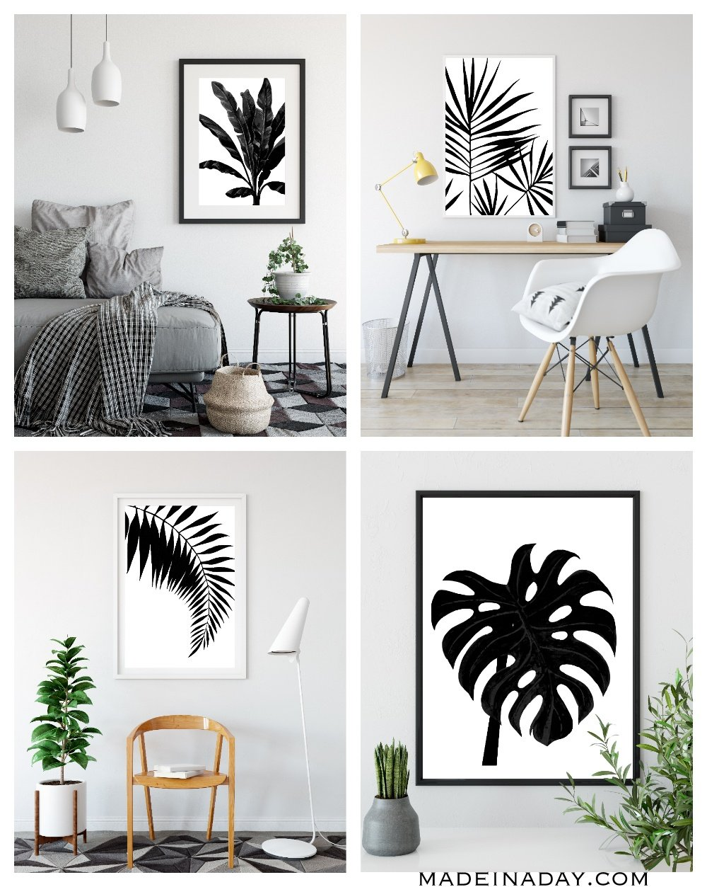 black white tropical palm leaf wall art printables made in a day. Black Bedroom Furniture Sets. Home Design Ideas