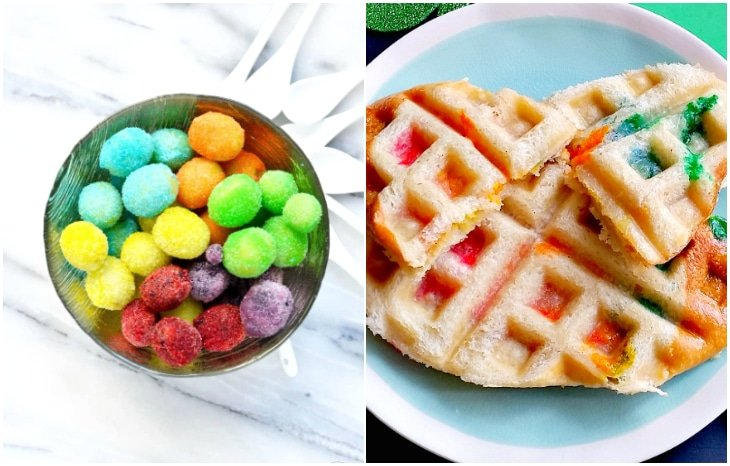 rainbow frosted grapes, rainbow waffle sandwich