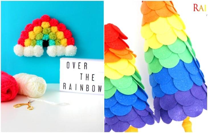 pom pom rainbow, rainbow felt trees