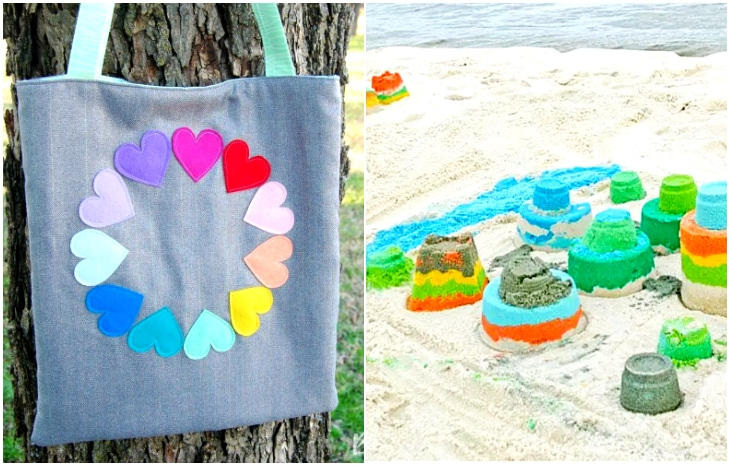 rainbow hear tote, how to dye rainbow beach sand