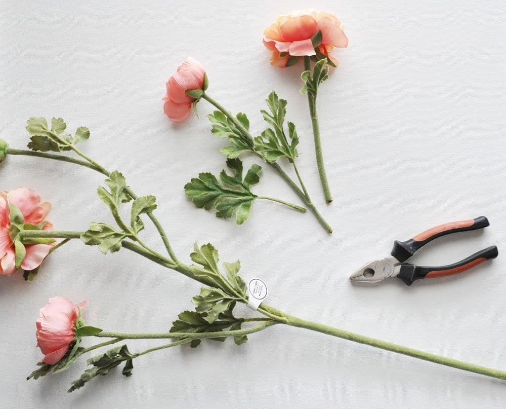 Trim silk plants, summer wreath
