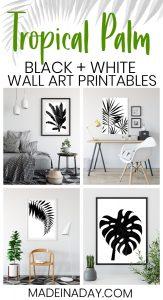 Black & White Tropical Palm Leaf Wall Art Printables 1